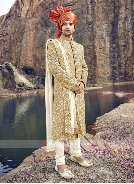Groom Heavy Embroidery Sherwani With Satin Dupatta