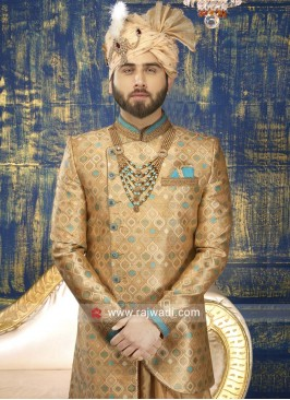 Groom Indo Western in Golden Color