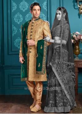 Groom Indo Western Sherwani in Golden Color