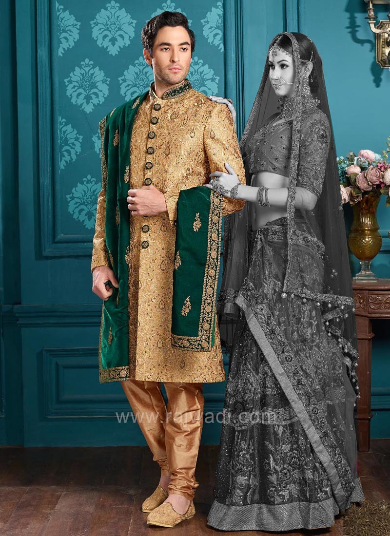 Groom Indo Western Sherwani in Golden Color