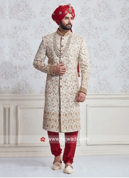 Groom Linen Bandhgala Embroidered Sherwani
