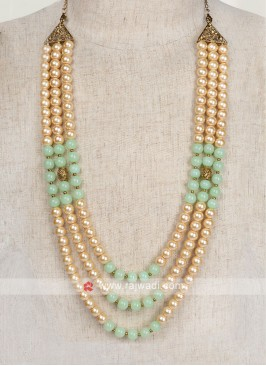 Groom Mala In Pista Green And Golden Color