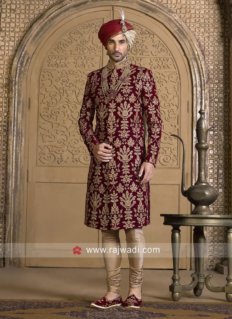 Groom Maroon Color Sherwani