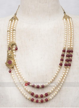 Groom Pearl Mala With Side Broach
