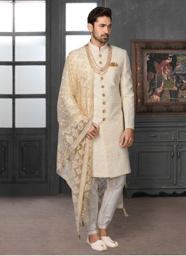 Groom Sherwani In Off-White Color
