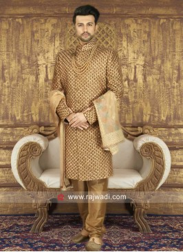 Groom Silk Fabric Golden Sherwani