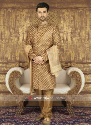 Groom Silk Fabric Golden Sherwani