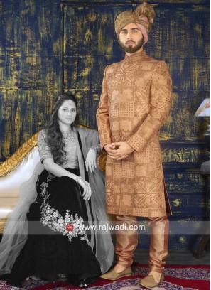 Groom Silk Fabric Sherwani