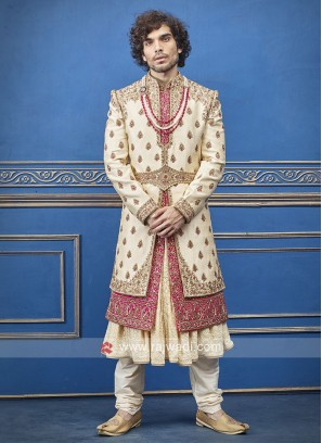 Cream and Pink Silk  Sherwani For Groom