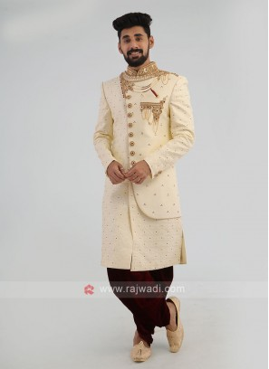 Groom Silk Sherwani In Cream Color