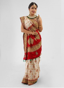 Gujarati Bridal Saree Panetar In Off-White And Maroon