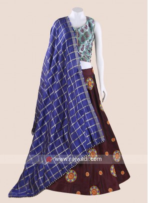 Gujarati Chaniya Choli in Maroon and Blue colour