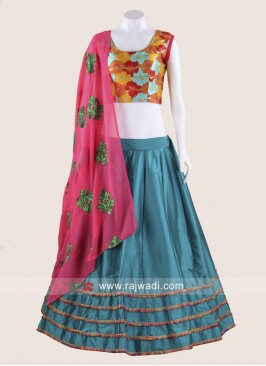 Gujarati Chaniya Choli in Teal and Pink colour