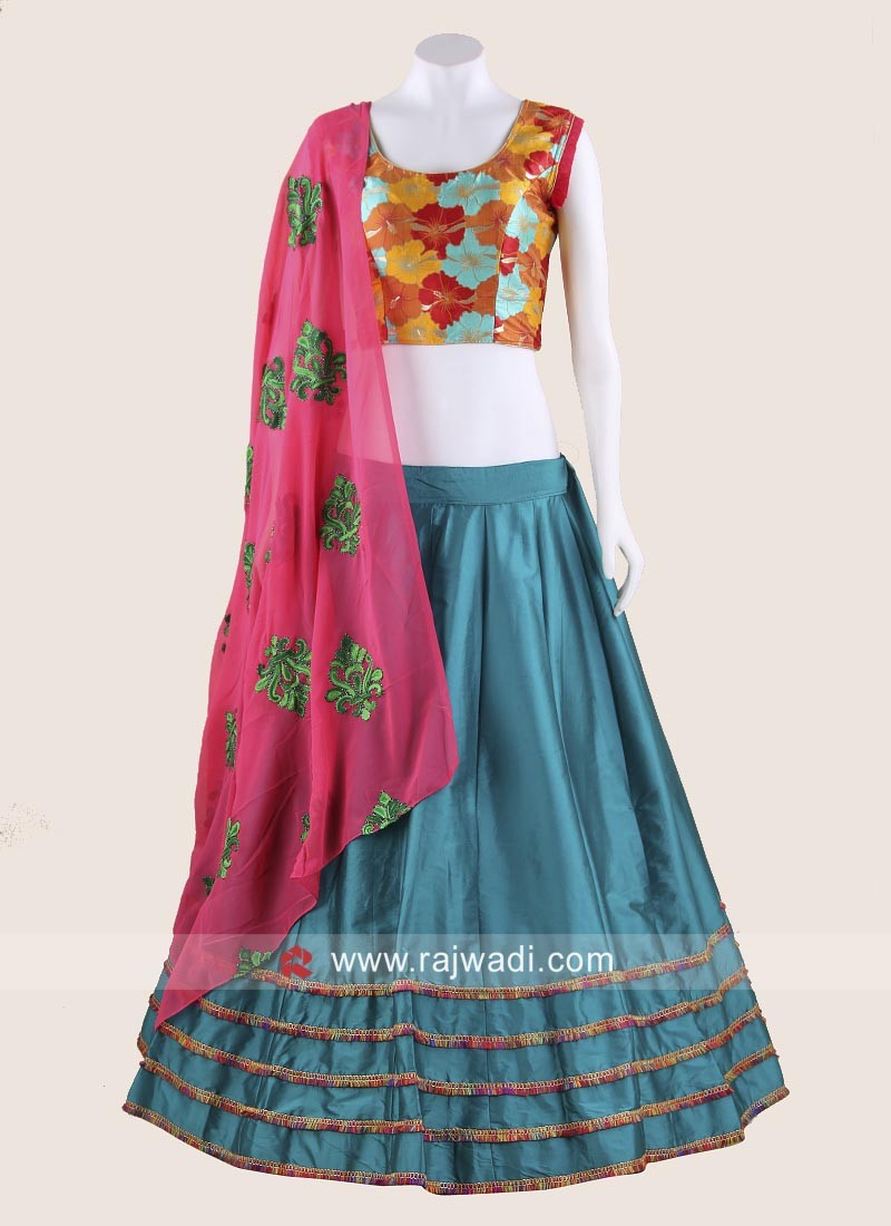 Gujarati Chaniya Choli in Teal and Pink colour