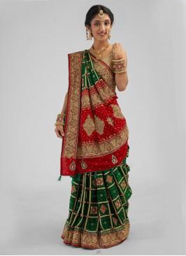 Gujarati Green Gajji Silk Gharchola Sarees