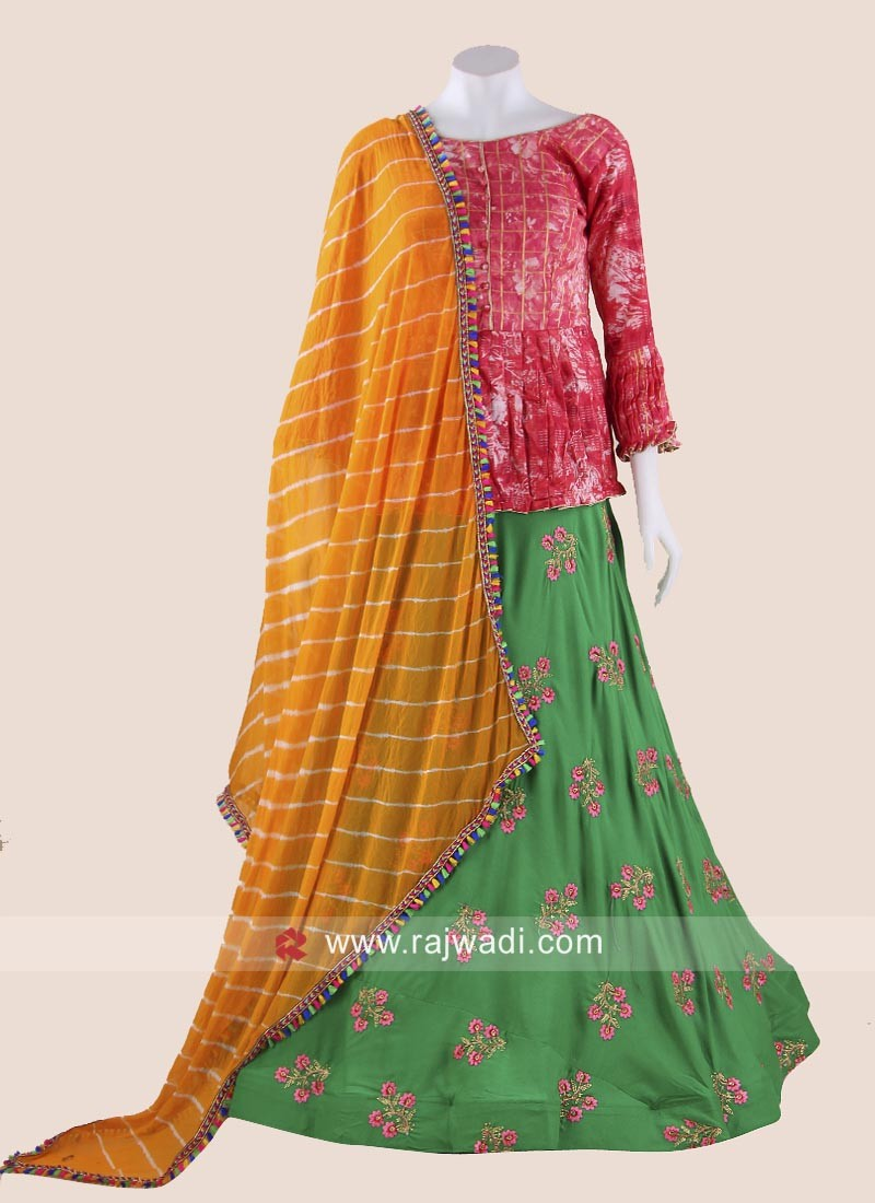 Gujarati Long Choli Style Chaniya Choli for Navratri