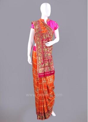 Gujarati Patola Saree with Embroidery Work