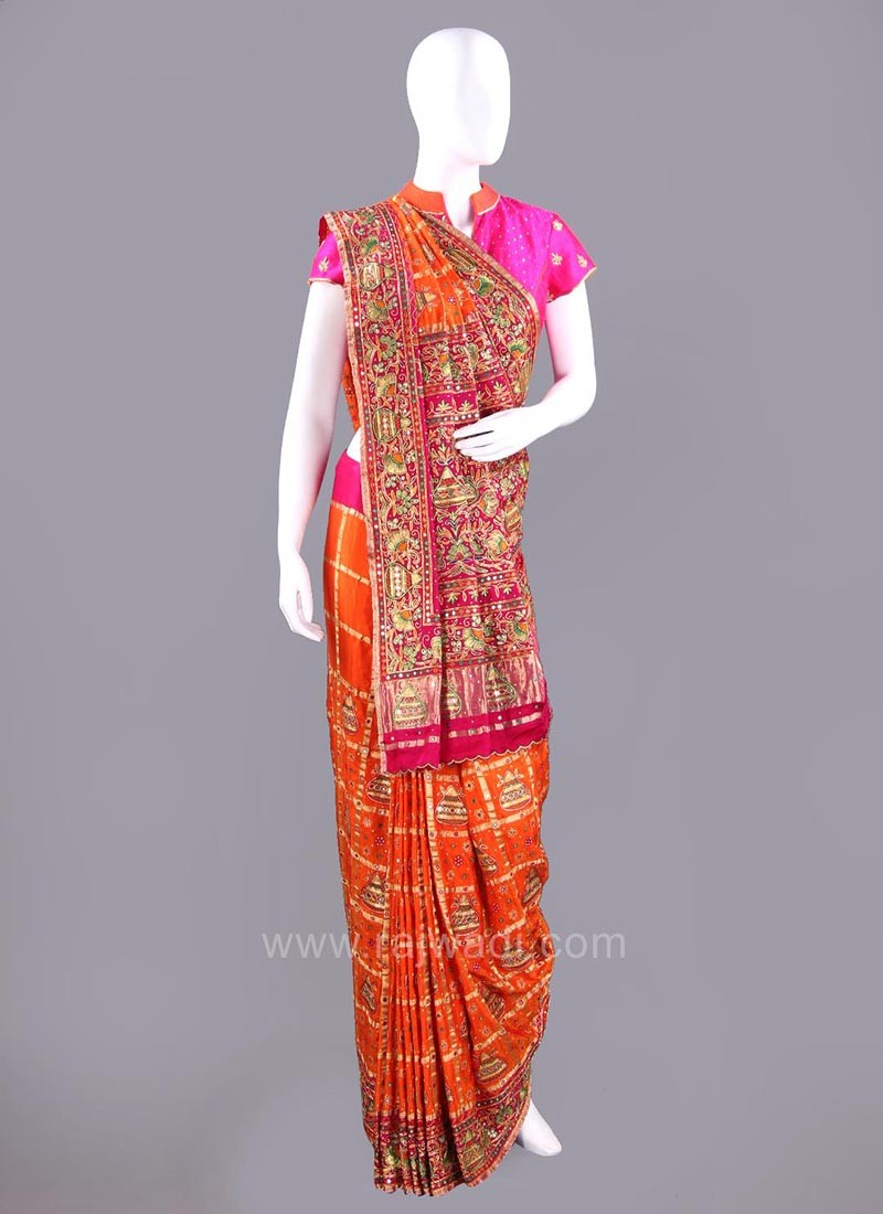 Gujarati Patola Saree with Embroidery Work