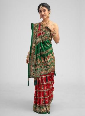 Gujarati Wedding Saree Gharchola In Maroon And Green