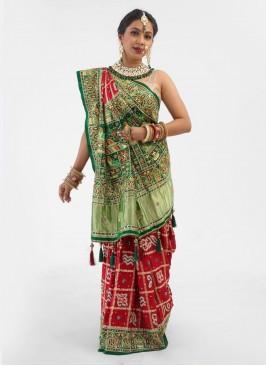 Gujarati Wedding Saree Gharchola In Maroon And Green Color
