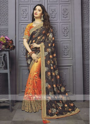 Half And Half Flower Printed Designer Saree