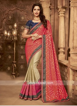 Half n Half Embroidered Saree