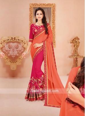 Half n Half Embroidered Saree