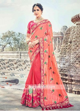 Half N Half Floral Embroidered Sari with Tassels