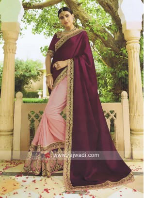 Half n Half Heavy Work Saree