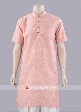 Half Sleeve Linen Kurta