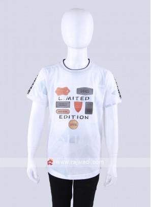 Half Sleeves White T-Shirt