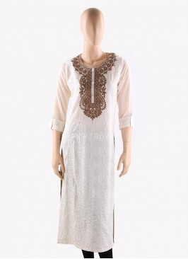 Hand Embroidered Off White Straight Kurti
