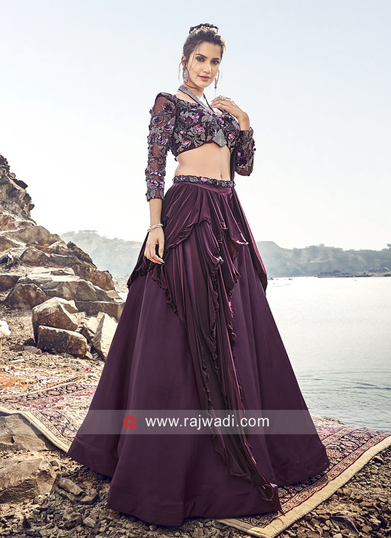 Handkerchief Layer Lehenga with Embroidered Crop Top