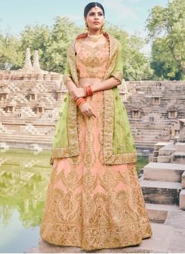 Handloom silk A Line Lehenga Choli in Peach