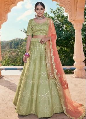 Handloom silk Mirror A Line Lehenga Choli in Green