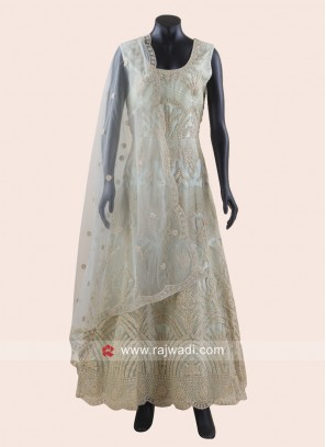 Heavy Embroidered Anarkali Suit in Sea Green