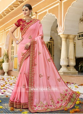 Heavy Embroidered Art Silk Saree