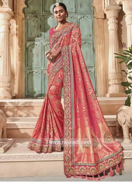 Heavy Embroidered Banarasi Silk Saree