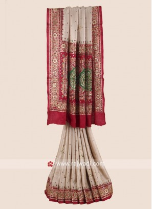 Heavy Embroidered Bridal Gharchola Saree