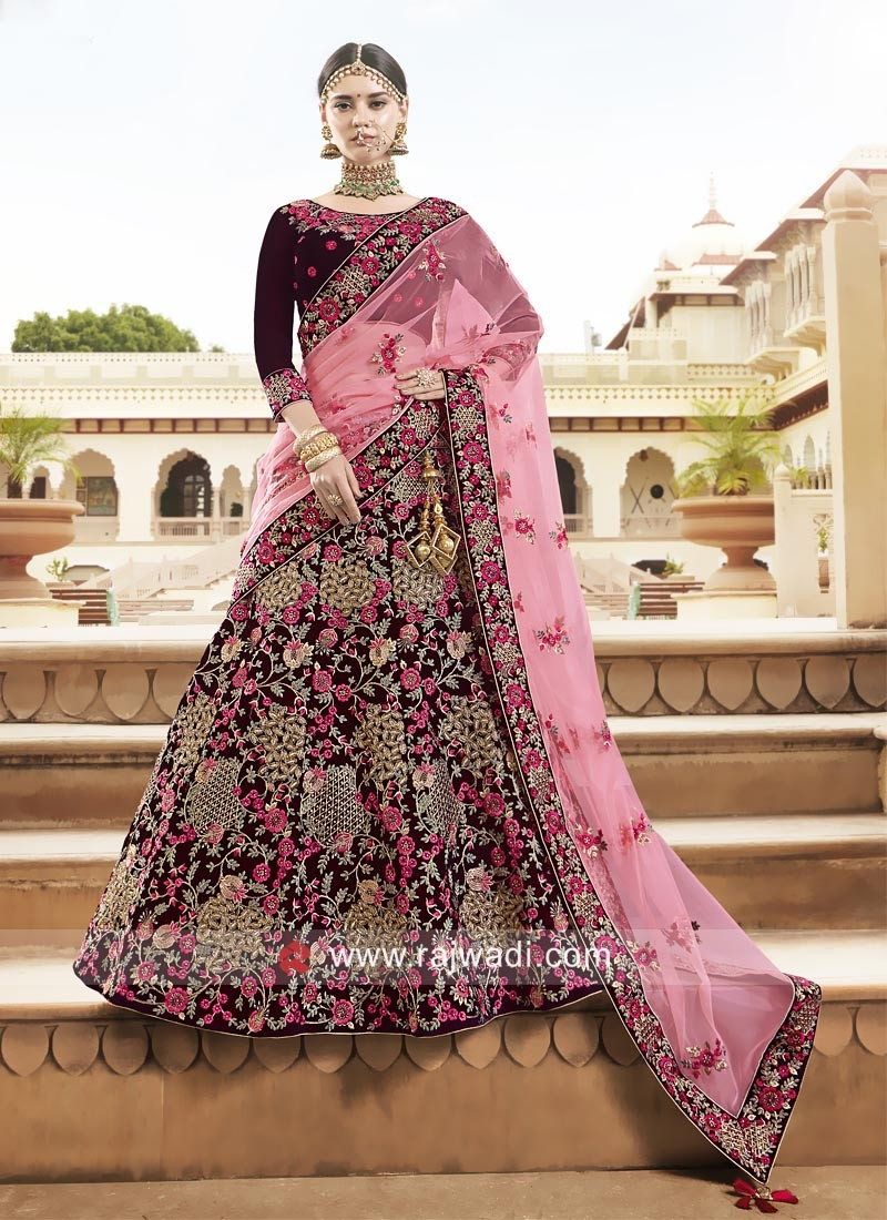 8898a3ad8f Heavy Embroidered Bridal Lehenga. Hover to zoom