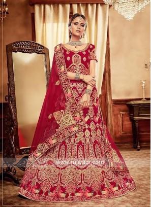 Heavy Embroidered Bridal Red Lehenga Choli