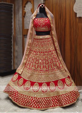 heavy embroidered bridal red lehenga choli