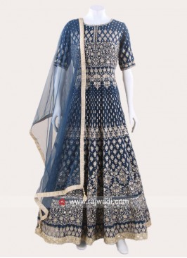 Heavy Embroidered Chiffon Anarkali Suit
