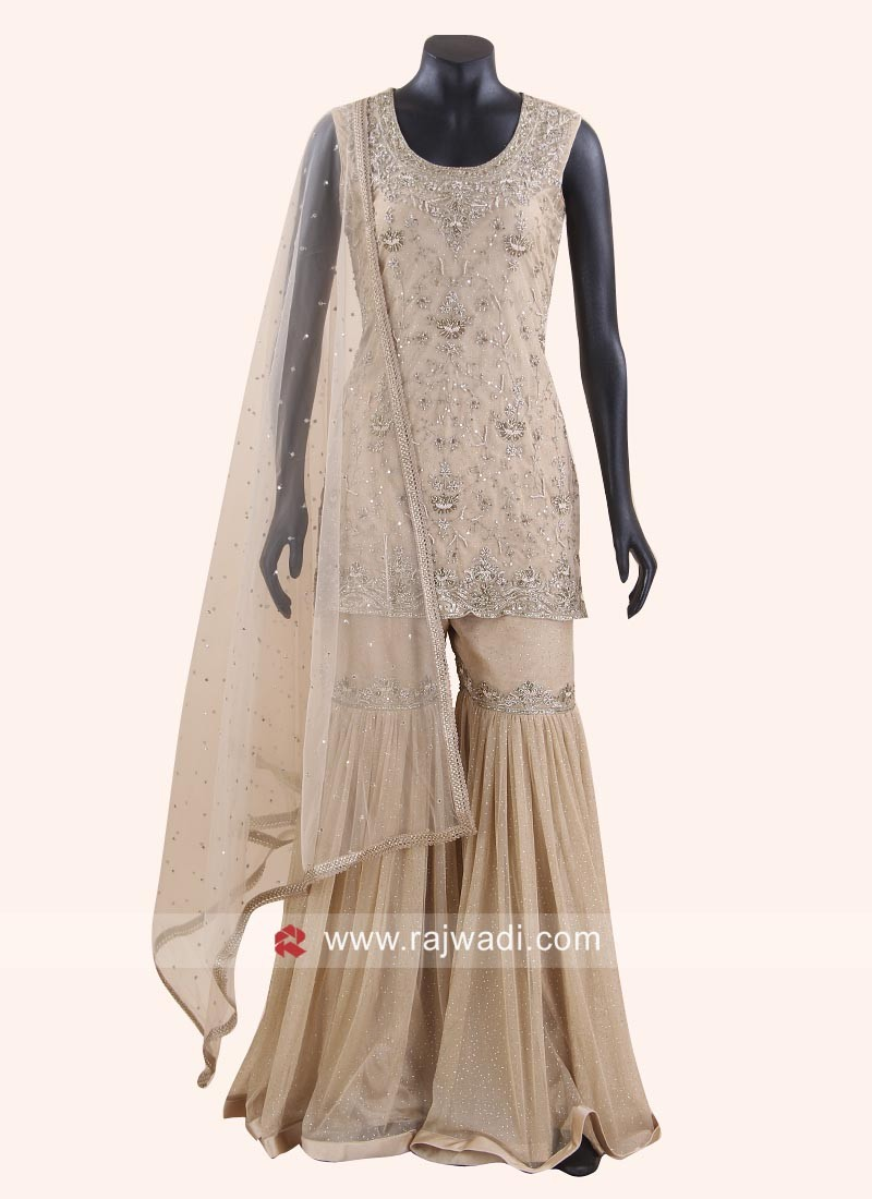 Heavy Embroidered Cream Gharara Suit