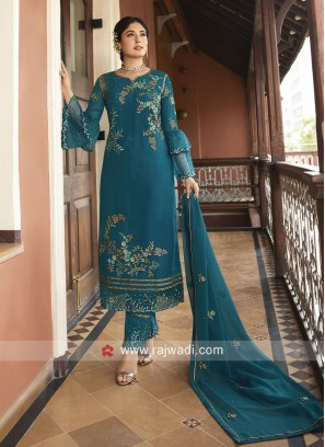 Heavy Embroidered Dark Teal Trouser Suit