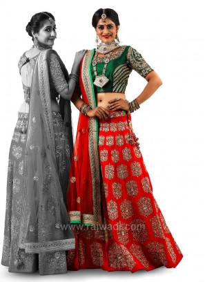 Heavy Embroidered Dulhan Choli Suit with Net Dupatta