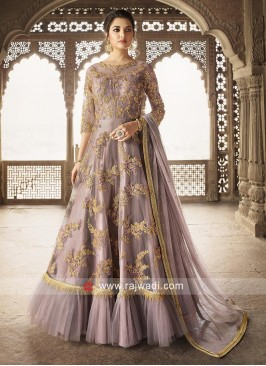 Embroidered Eid Anarkali Suit with Pleated Border
