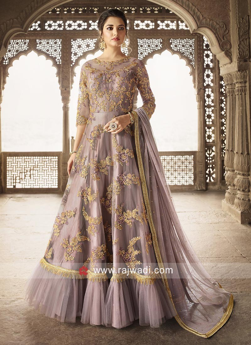 df077d15d5 Embroidered Eid Anarkali Suit with Pleated Border. Hover to zoom