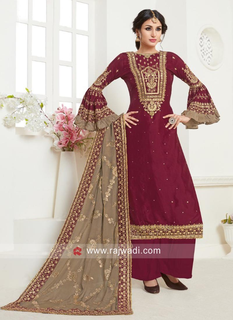 Heavy Embroidered Palazzo Suit