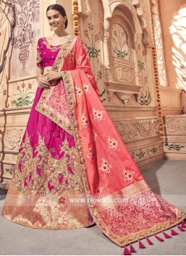 Heavy Embroidered Festive Lehenga in Deep Pink